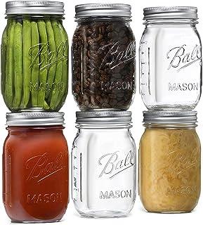 Ball Regular Mouth Mason Jars 16 oz [6 Pack] With mason jar lids and Bands, Ball mason jars 16 oz - For Canning, Fermentin...