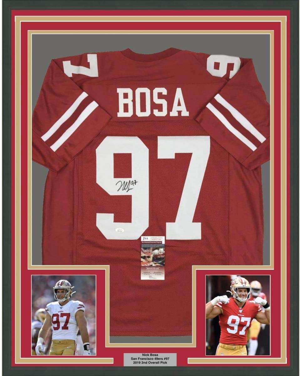 Framed New Ranking TOP12 York Mall Autographed Signed Nick Bosa Red Francisco San Foot 33x42