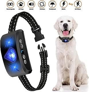 Bark Collar, 2019 Newest Rechargable Waterproof 7 Adjustable Sensitivity Levels Dog Bark Collar with Beep Vibration and Harmless Shock Dog Barking Collar for Small Medium Large Dogs