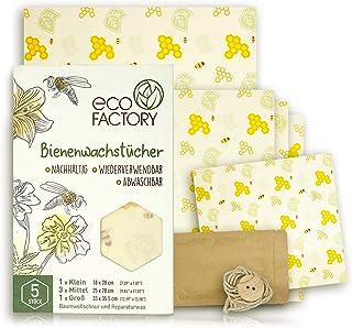 Eco Factory Bienenwachstücher 5er Set aus natürlichem Bienenwachs und Bio Baumwolle - Beeswax-Wraps für Lebensmittel-Aufbewahrung - Wiederverwendbar, Natürlich und Nachhaltig - LFGB Zertifiziert