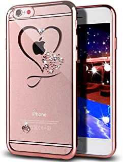 iPhone 6S Plus Case,iPhone 6 Plus Case,ikasus Mini Love Heart Glitter Bling Crystal Rhinestone Diamonds Clear Rubber Rose Plating TPU Soft Silicone Case Cover for iPhone 6S Plus/iPhone 6 Plus 5.5""