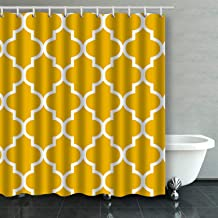 IrYuee Custom Moroccan Quatrefoil Mustard Yellow Shower Curtain 66x72 inches