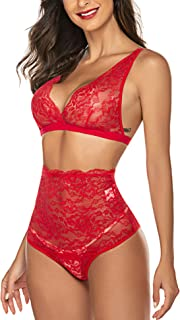 Avidlove Women's Lace Lingerie High Waist Bra and Panty Set Strappy Babydoll Bodysuit