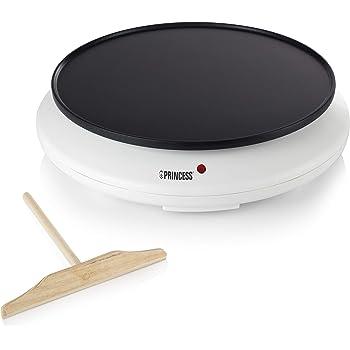 Princess 492227 Crepera, termostato regulable, 1100 W, 30 cm, revestimiento antiadherente, Blanco