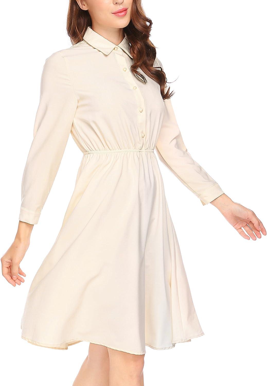 Burlady Women's Long Sleeve Button Down Elastic Waist A Line Dress
