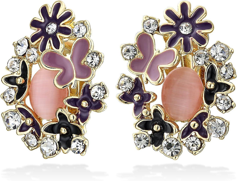 Green Pink Black Multi Color Button Style Cats Eye Garden Butterflies Flower Clip On Earrings For Women Non Pierced Ears