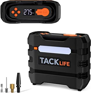 TACKLIFE Tire Inflator Air Compressor, 150PSI, 12V Mini Electric Pump with Overheating Protection, Long Cable, LCD Display, LED Light, 3 Nozzles and Spare Fuse
