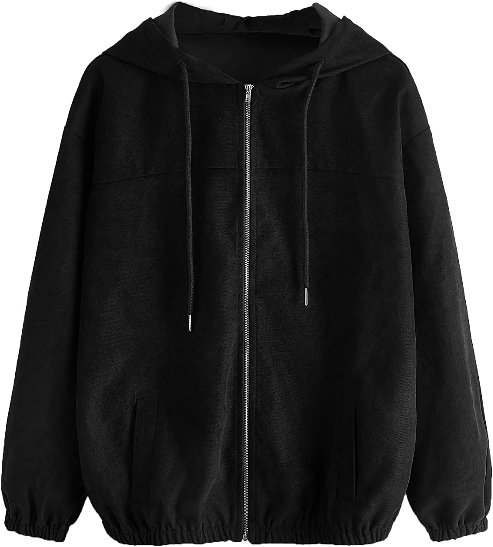 Verdusa Women's Full Zip Long Sleeve Drawstring Hooded Corduroy Jacket Coat