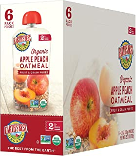 Earth's Best Organic Stage 2 Baby Food, Apple Peach and Oatmeal, 4.2 oz. Pouch (Pack of 12)
