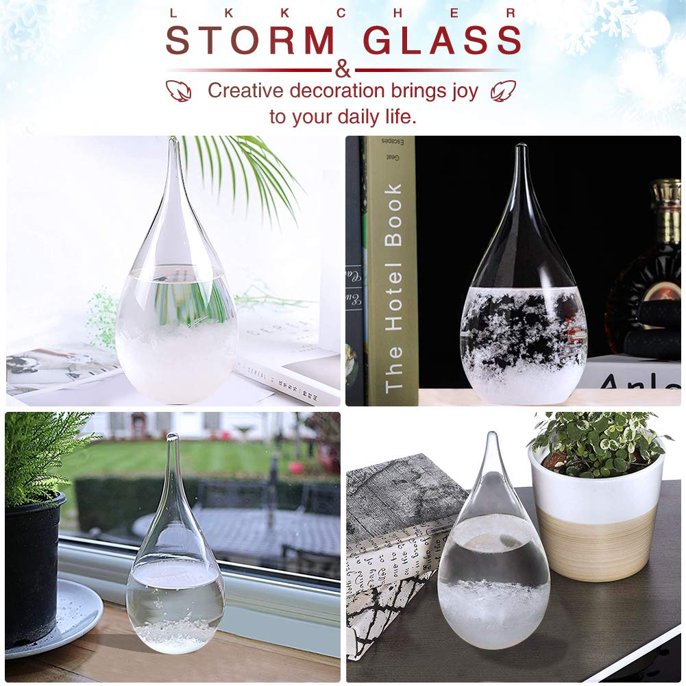 Randomly With Base LKKCHER Storm Glass Weather Globe Weather Station Decorative Indoor Barometer Glass Weather Predicting Globe Water Drop Weather Forecaster Tool for Home and Room Desktop Decoration