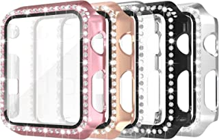 Simpeak 5 Pack 38mm Bling Case Built-in Glass Screen Protector Compatible with Apple Watch Series 3 2 1, Crystals Hard Pro...