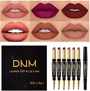6Pcs Lip Liner and Lipstick Set, DNM Double Color Head Matte Lipstick 24H & Lip Liner 2 in 1 Kit,Waterproof Long Lasting D...
