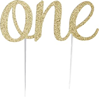 CMS Design Studio Handmade 1st First Birthday Cake Topper Decoration - One - Made in USA with Double Sided Glitter Stock (Gold)