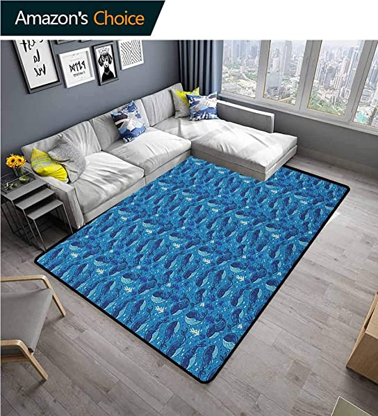 YucouHome Whale Sports Door Mats Inside Non Slip Aquatic Background With Fish And Seaweed Cartoon Style Animal Characters Fashionable High Class Living Dinning Room 2 X 6 Navy Blue Dark Blue