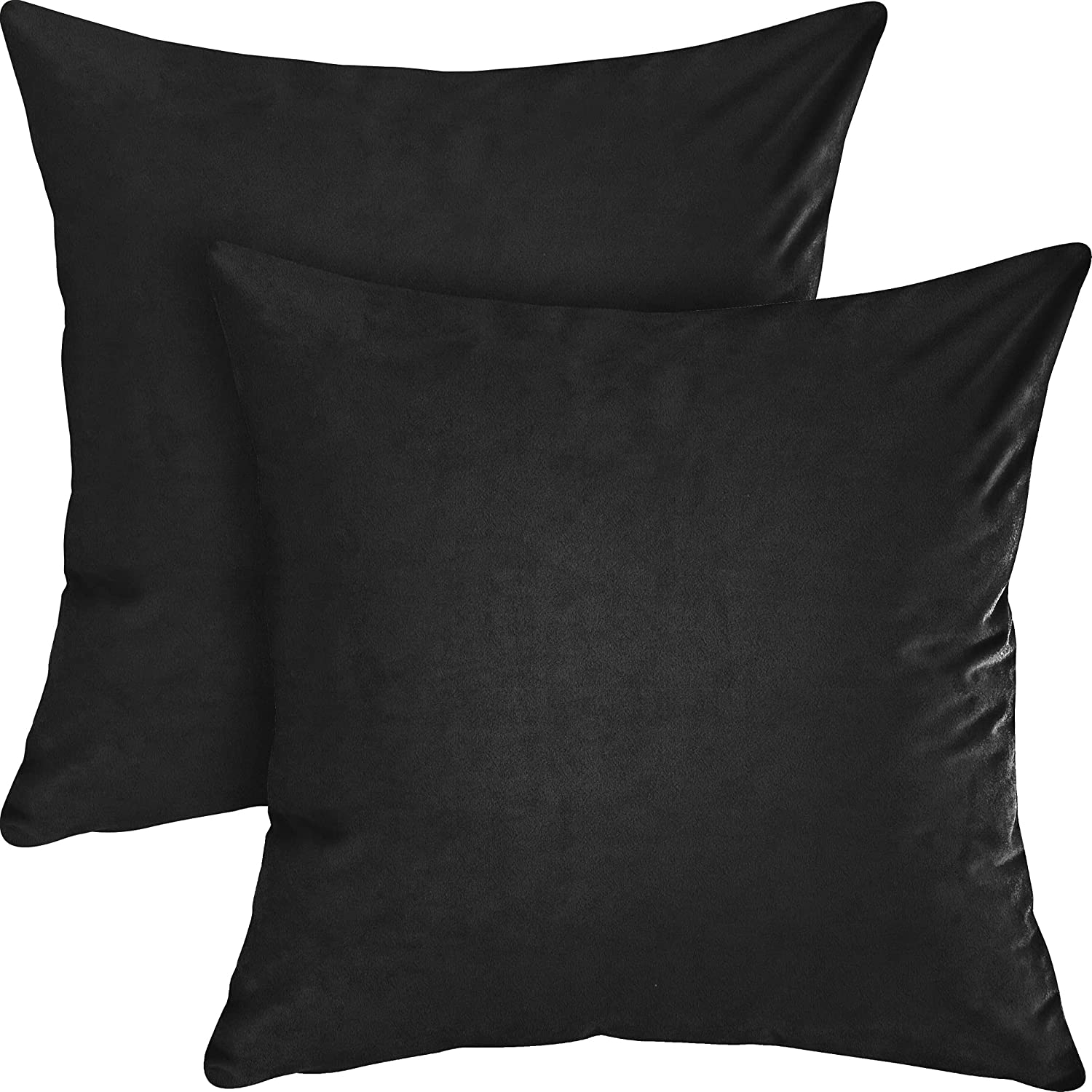 Utopia Bedding Soft Velvet Fleece Decorative Square Cushion Covers (Pack of 2) - Throw Pillow Cases with Zipper - Sofa Bedroom Car Pillow Covers (18 x 18 Inch, Black)