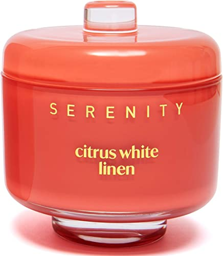 Luxury Glass Jar Scented Candle with Natural Soy Wax 230g/8oz - Scents in CITRUS WHITE LINEN for Stress Relief and Re...