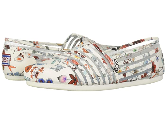 BOBS from SKECHERS  Bobs Plush - Daisy Darling (White/Multi) Womens Flat Shoes