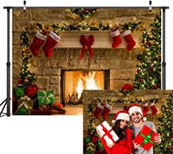 Mosong 7x5FT Christmas Backdrops for Photography Christmas Fireplace Background Decorations Seamless Vinyl Photo Backgrounds for Xmas Party Studio Booth Pictures Props NC003