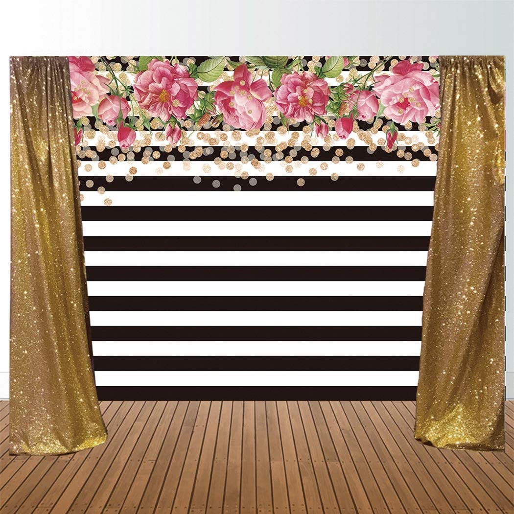 Allenjoy 7x5ft Photography backdrops Black and White Stripe Stripes Watercolor Pink Rose Flower Golden Glitter Circles Banner Birthday Party Event Wedding Bridal Shower Photo Studio Booth Background