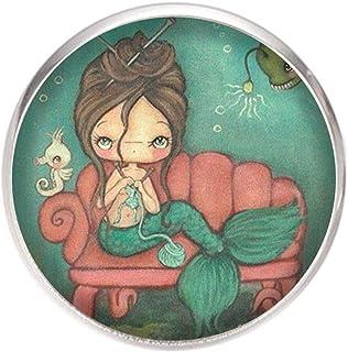 Spilla con perno in acciaio inossidabile, diametro 25 mm, spillo 0,7 mm, Fatto a Mano, Illustrazione sirena