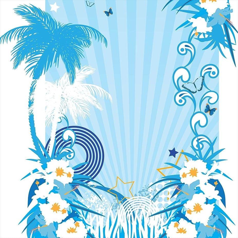 意志に反する評決レンズポスター ウォールステッカー 正方形 シール式ステッカー 飾り 60×60cm Msize 壁 インテリア おしゃれ 剥がせる wall sticker poster ラグジュアリー ハイビスカス ハワイ 水色 004711
