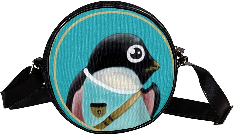 Recommendation hand drawn penguin Super beauty product restock quality top Women's Round Cross-Body Zipper Bag Shoulder