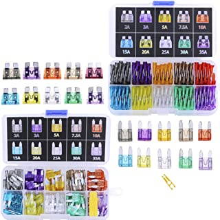 Blade Car Fuses Assortment Kit 220PCS –Standard & Mini (2A/3A/5A/7.5A/10A/15A/20A/25A/30A/35A) ATO/APR / ATC Fuse Car Kit Assorted Auto Truck Boat Truck SUV Automotive Replacement Fuses Puller