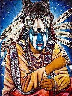 Pittura a mosaico con diamanti sintetici per adulti indiani con odiodio del lupo,pittura diamante 5d fai da te kit per ric...