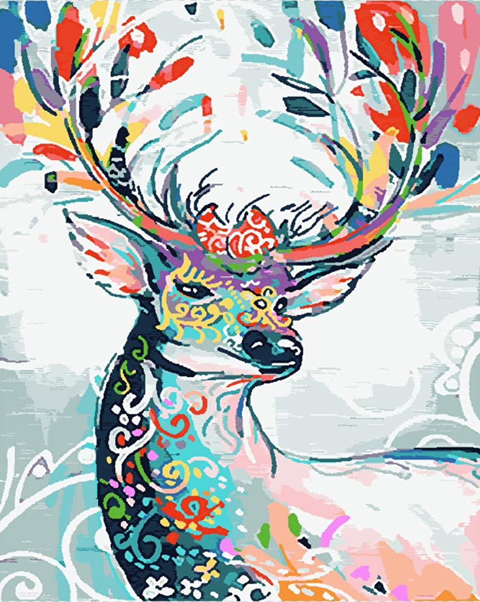 Wowdecor Paint by Numbers for Adults Beginner Kids, Number Painting - Colorful Deer, Stag 40x50 cm - Wall Art Diamond Gifts