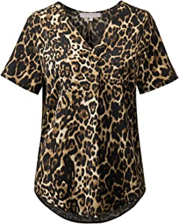 Regna X Short Sleeve Business Casual Blouses for Women (Solid, Floral Print)