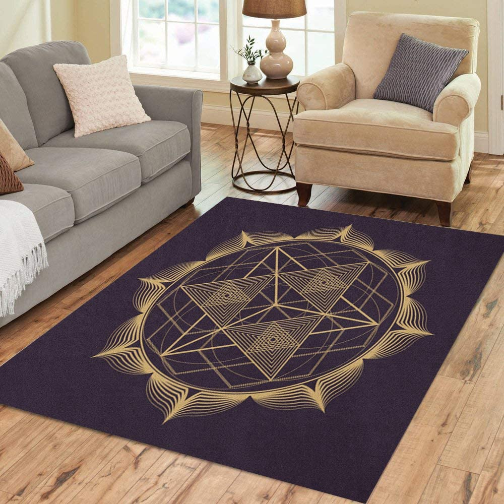 Don't Cheap miss the campaign Pinbeam Area Rug Gold Monochrome Trian Geometry Abstract Mandala