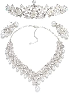 Frcolor Wedding Pearl Crown Tiara Flower Rhinestone Crystal Neckalce and Earrings Bridal Jewelry Sets