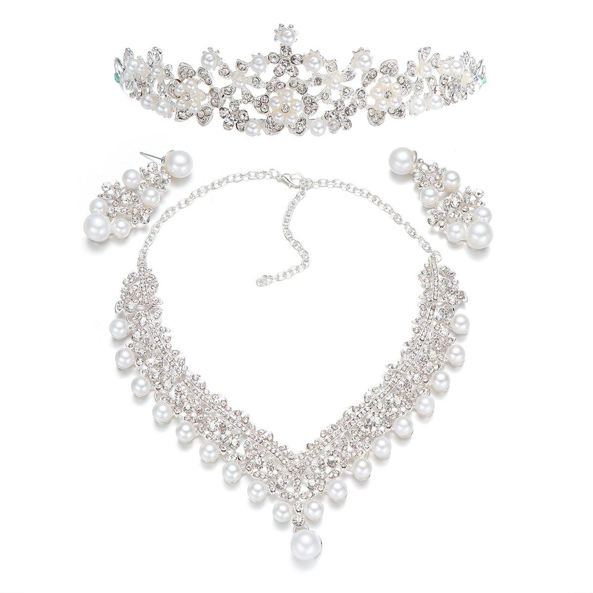 Wedding Pearl Crown Tiara Flower Rhinestone Crystal Neckalce and Earrings Bridal Jewelry Sets
