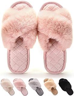Gainsera Zapatillas de Casa Mujer Invierno Pantuflas Felpa Suave Mullido Pantuflas Cómodo para Exterior e Interior
