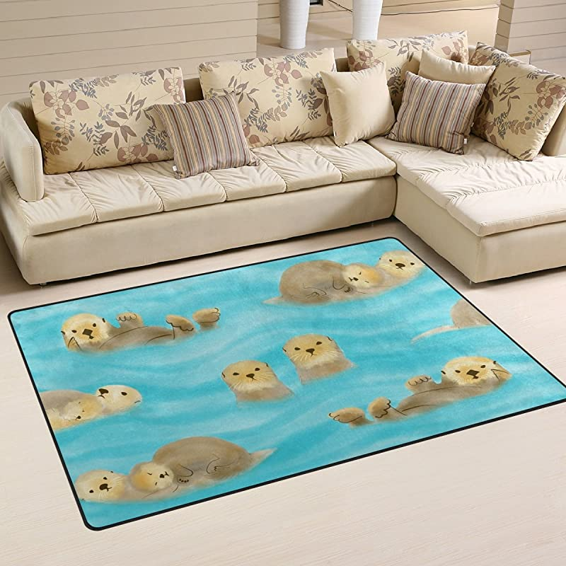 WellLee Animal Area Rug Otters With Cubs In Water River Floor Rug Non Slip Doormat For Living Dining Dorm Room Bedroom Decor 60x39 Inch