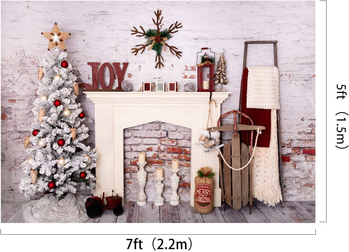 Kate 8/×8ft Christmas Photography Backdrop Brick Wall Interior Indoor Christams Background Xmas Photo Studio Prop for Christmas Happy New Year Decoration Photography