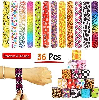 36 PCS Slap Bracelets Party Favors Pack with Diverse Pattern, Emoji, Animals, Heart Print Design, Retro Slap Wrist Bands f...