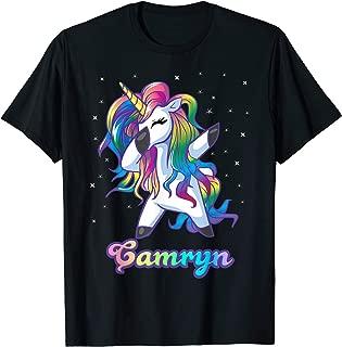 CAMRYN Name Personalized Custom Rainbow Unicorn Dabbing T-Shirt