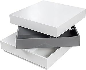 Drehbarer Design Couchtisch MULTILEVEL weiß grau Hochglanz Tisch Wohnzimmertisch