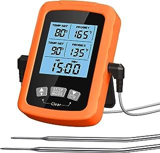 """Cocoda Thermometre Cuisine, Thermomètre Cuisson au Four Étanche avec 6,4"""" Double Sonde Longue & Minuteur, 3S Lecture Rapid..."""