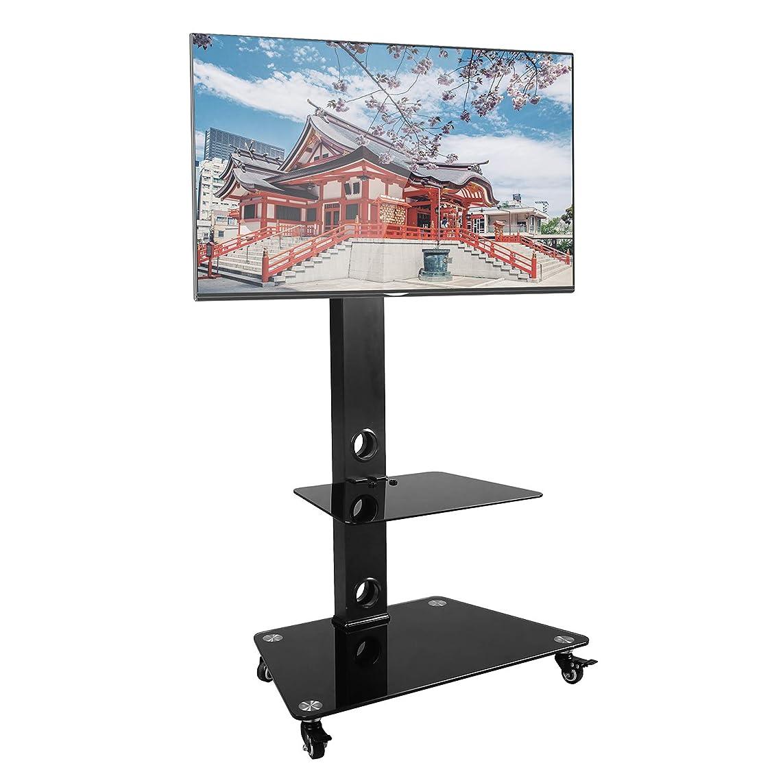 傾いたヒステリック値WLIVE テレビスタンド キャスター付き 液晶TVスタンド ディスプレイスタンド tvスタンド テレビモニター 壁寄せテレビスタンド 32~65インチ対応 耐荷重45kg VESA規格対応 高さ3段階調節 ラック左右25°回転可能 棚板付き 幅66×奥行40×高さ120cm 省スペース 移動式 家用 展示用 ブラック MF0084A