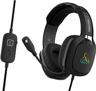 THE G-LAB Korp VANADIUM Auriculares Gaming - Auriculares estéreo, Ultra Ligero, RGB - Auriculares con Micrófono, Jack de 3.5 mm para PC/PS4/Xbox One/Nintendo Switch/ Mac/Smartphone - NUEVO (Negro)