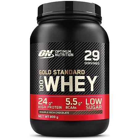 Optimum Nutrition Gold Standard 100% Whey Protéine en Poudre avec Whey Isolate, Proteines Musculation Prise de Masse, Double-Rich Chocolat, 29 Portions, 899g, l'Emballage Peut Varier