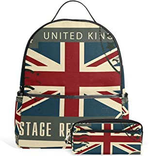 FANTAZIO Mochilas Bolso Lápiz Bandera Inglaterra Sello Escolar Bolsa Set