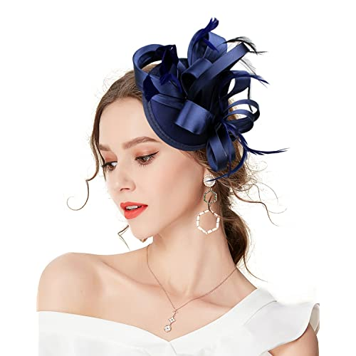 Z X Sinamay Penny Mesh Bow Flower Hair Clip Fascinator Hat for Women  Cocktail 69087bfafe3