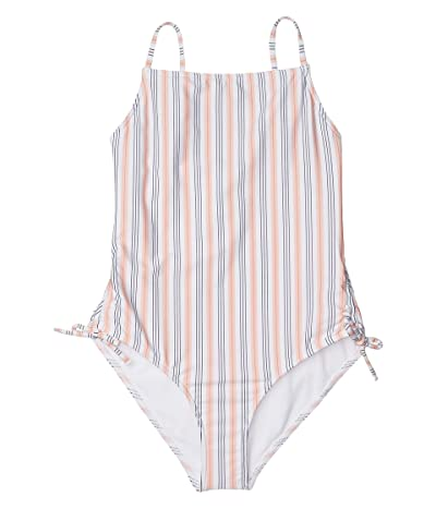 Roxy Kids Chase Your Dream One-Piece Swimsuit (Big Kids) (Bright White May Stripes) Girl