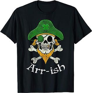 ARRish Funny Irish Pirate Clover Skull Cool St Patricks Day T-Shirt
