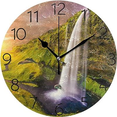 Kess InHouse BarmalisiRTB Dead Space1 Blue White Digital 12 Wall Clock