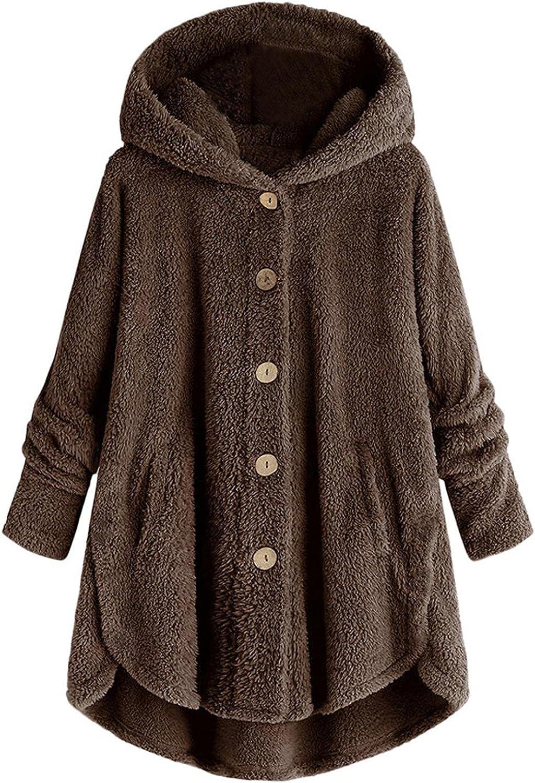 Women Hooded Long Coat Plus Size Button Solid Color Plush Fleece