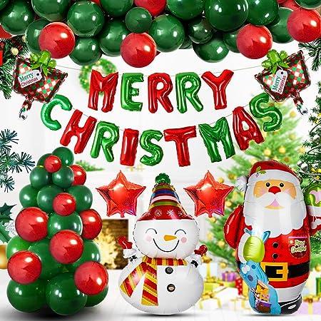 2020最新 クリスマス 飾り バルーン 装飾 かざり 風船 セット 空気ポンプ付き ホームパーティークリスマス バルーン 102点豪華セット MERRYCHRISTMAS ガーランド サンタクロースさん 雪たるまさん 紙吹雪きらきら風船付き 祝い風船 装飾 インテリア